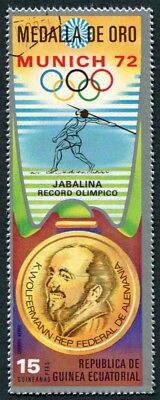 EQUATORIAL GUINEA 1972 15p used NG Olympic Medalists Munich K. Wolfermann c a2