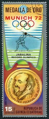 EQUATORIAL GUINEA 1972 15p used NG Olympic Medalists Munich K. Wolfermann d a2