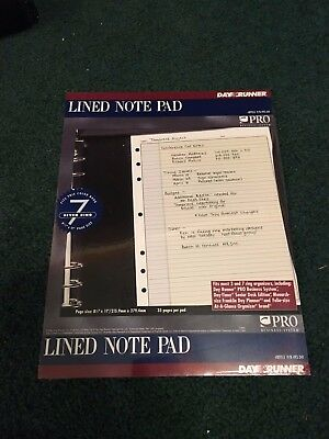 Day Runner, LINED NOTE PAD Refill 493-341 for 3 or 7 Ring Binder 8.5 x 11