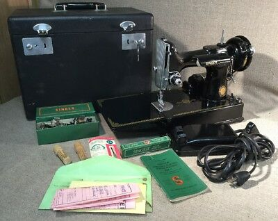 1951 SINGER SEWING MACHINE 100th Year Commemorative Model 221+ CASE+ Accesories
