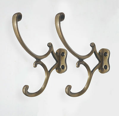 Lot of 2 pcs Vintage Victorian Arrow Head Brass Strong Coat Hat Wall mount Hooks