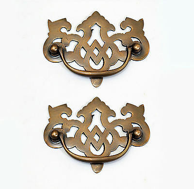 Lot of 2 pcs Vintage Escutcheon Crown Solid Brass Cabinet Drawer Pulls Handle
