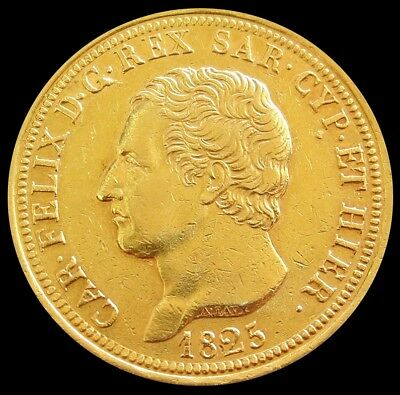 1825 L Gold Italy Sardinia 80 Lire Charles Felix About Uncirculated Condition
