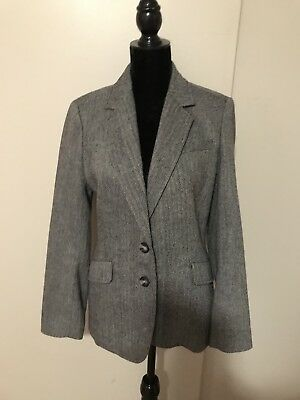 Talbots Women's Size 8 Black White Houndstooth Polyester Wool Lined Blazer