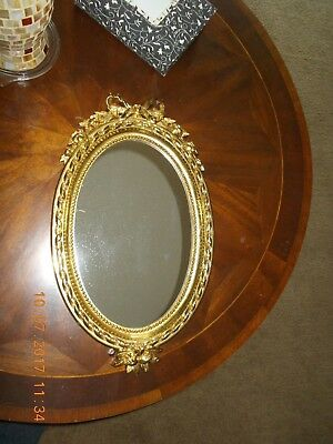 Beautiful Home Interiors Oval Gold Mirror very Hollywood Regency Roses Bows
