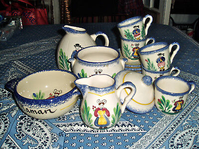Genuine Hand-Painted Coffee Expresso Service From Brittany (Bretagne) - 14 Pcs