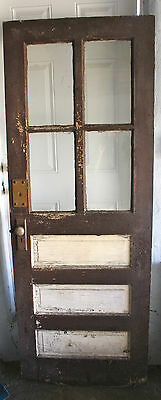 "Exterior wood door Dark brown and white 79""x 29.75"""