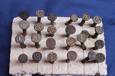 Vintage Lot of 24 ROUND RAISED NUMBERED RAILROAD NAILS altered art