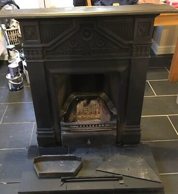 Victorian Cast Iron Fireplace Vintage Sunflower Detail Includes Slate Hearth