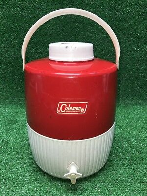 Vintage Coleman Metal 2 Gallon Jug Water Cooler Red/White 1970s Superb Condition