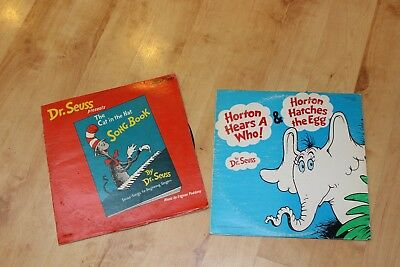 Vintage Dr.Seuss Cat in the Hat and Horton Hears a Who! Vinyl Records