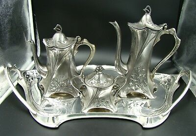 Amazing Wmf Art Nouveau Ivy Silvered-Metal Tea And Coffee Service With Tray Rare