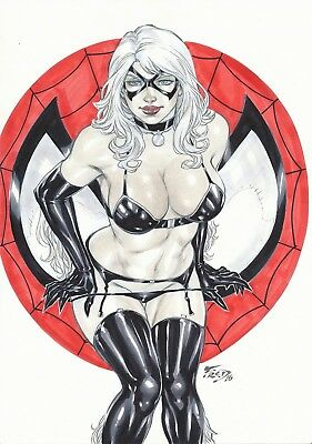 Black Cat by Fred Benes  (Approx. Size A4: 8.3 × 11.7 inches)