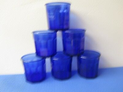 Beautiful Cobalt Blue Tumblers made in France (6) LOT # 45