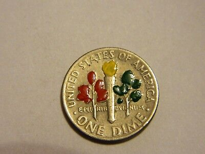 1975 Roosevelt Dime Crudely Painted  ---- Lot #3654