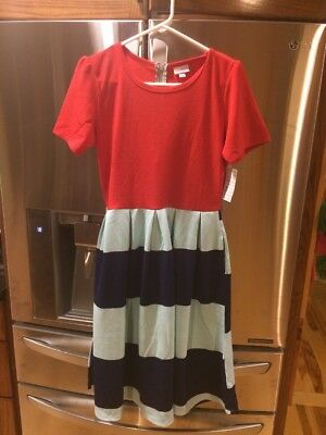 LULAROE Size L Amelia In Red, Robins Egg Blue, Navy