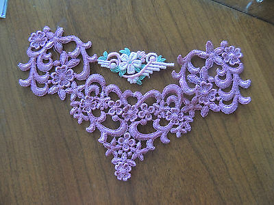 VINTAGE FRENCH 2 Pcs Large 10 X 7-SMALL 3 1/2 Collar SEW-ON APPLIQUES BEAUTIFUL