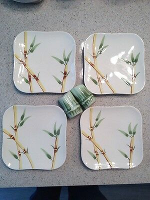 Weil Ware Bamboo Four Bread & Butter Plates & Matching S & P CA Pottery