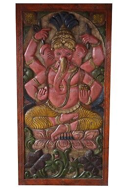 Antique Vintage INDIA DOOR Hand Carved GANESHA Barn Door WALL Panel Zen DESIGN
