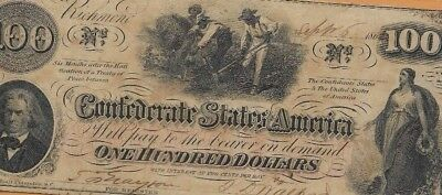 """$100 (Crispy) """"slaves Hoeing"""" (Confederate Note) $100(Rare)""""csa """"slaves Hoeing"""""""