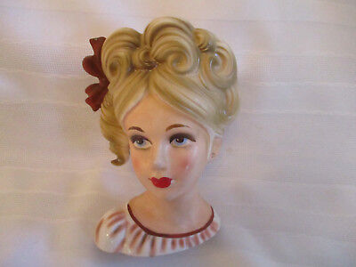Vintage LADY HEAD VASE  w Bow in her Hair    Japan  5 1/2 inch   red wreath mark