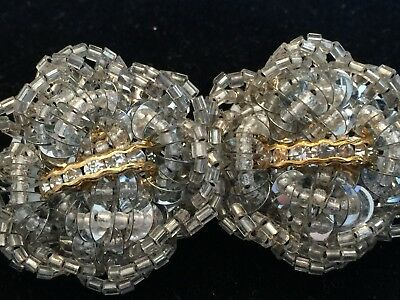 Stunning 50's Vintage Clip Earrings 1.5 Inch Silver Beads Rhinestone Accents