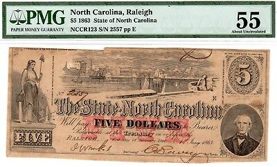 NC-33 CR-123 $5.00 North Carolina Paper Money 1863 - PMG About Uncirculated 55!