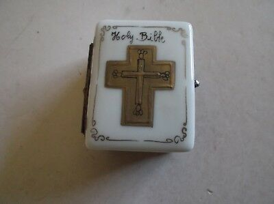 Peint Main Limoges Book of the Holy Bible Trinket Box