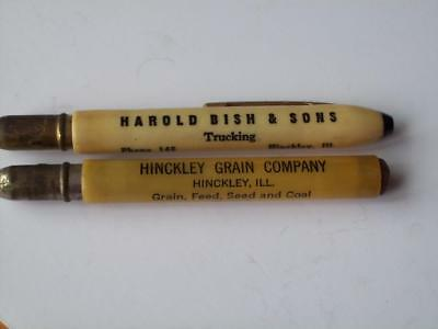 2 Bullet Pencils Hinckley Illinois Harold Bish Trucking and Grain Co. Seed Coal