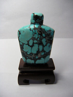 Vintage Carved Chinese Natural Turquoise Snuff Bottle W / Stand 1970's  86.9g
