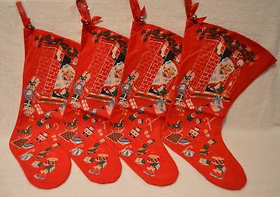 4 Vintage New Old Stock Flannel Christmas Stockings Double Sided