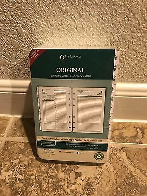 Franklin Covey Original White Tabbed Refill 2018 Compact Design 2 Pages Per Day