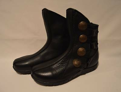 Son Of Sandlar Leather Ankle Boots Black Women's Size 8 Hand-Crafted Renaissance