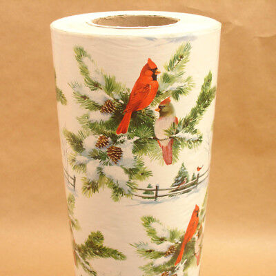 """HUGE 16 lbs. Vintage Christmas Wrapping Paper Roll CARDINALS,Store Gift Wrap,18"""""""