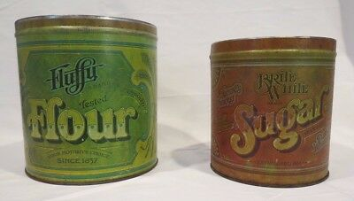 Set of Two Distressed Vintage-Style Kitchen Tins Labeled Flour and Sugar