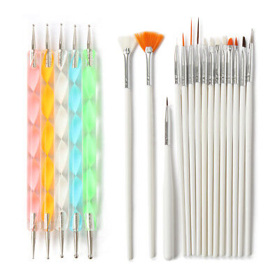 20 Pcs/set Nail Art Brush For Dotting Painting Drawing Nail Pen Gel Polish Tool