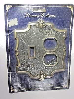 New Old AJAX Antique Brass 2 Gang Outlet Switch Combo Plate Cover Premiere 4106
