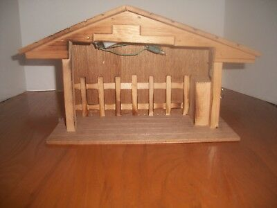 Vintage Wooden Stable with Music Box and Light