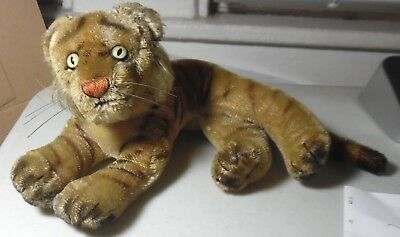 """1950s Steiff Mohair Lying Tiger w/Bright Yellow Eyes-Measures 10"""" Long-Nice-LOOK"""