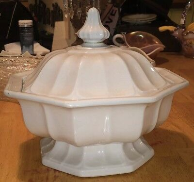 Antique White Ironstone Compote Base Octagon Gothic T & R Boote Staffordshire