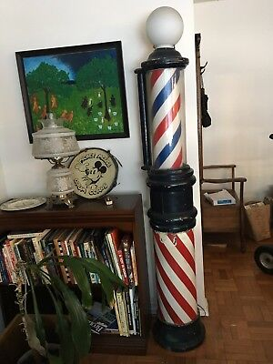 Antique Standing Sidewalk Barber Pole with Cast-Iron Base & Working Light