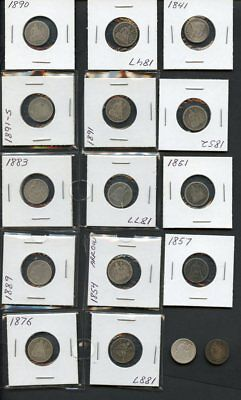 U.S Seated 10c Silver Dimes Collection-16 Different Coins-1841-1891-O, VG to VF