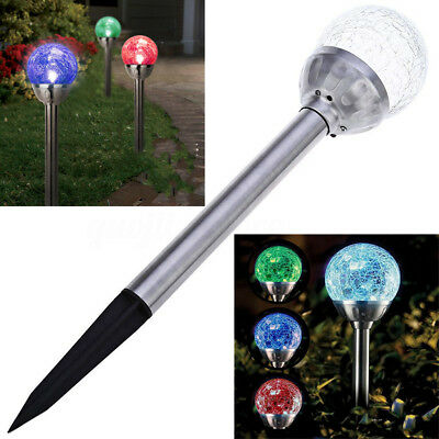 4X Stainless Steel Solar Crackle Glass Ball Landscape Lights Color Changing LED
