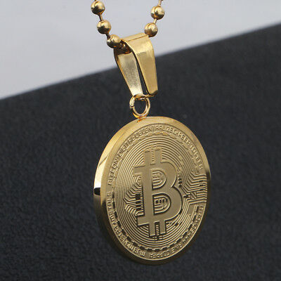 Stainless Steel BTC Pendant Gold Plated Round Bitcoin Necklace Gifts Jewelry