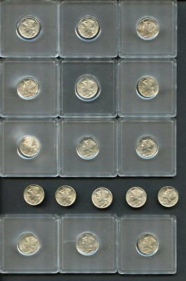 U.S. Mercury Silver Dime Collection-17 Dimes, 11 Diff., AU to BU-1938-S to 1945