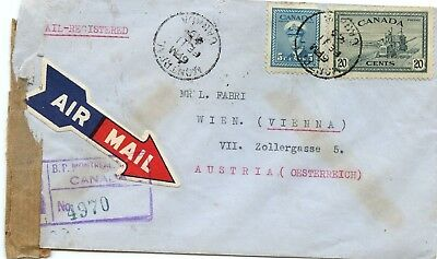 1949 Peace / War Issue 10c + 15 to AUSTRIA AIRMAIL Registered  cover Canada