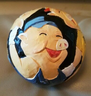 Briere 1992 Folk Art The Three Little Pigs Carved Ball