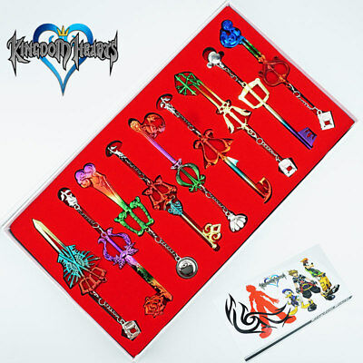 9PCS Kingdom Hearts Sword Pendant Keychain Color Metal Collection Game Cosplay