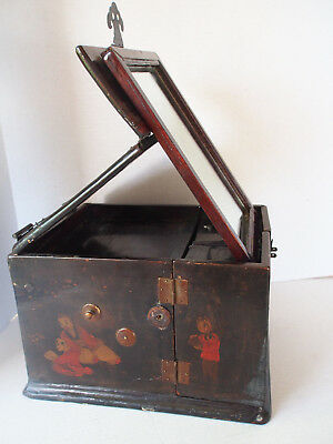 19 c Antique Chinese~Hand Painted Kids~Figural Lacquer Chest Jewelry Mirror Box