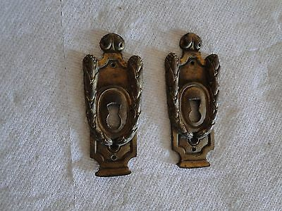 Pair Antique French brass or Bronze Ormolu Key Escutcheons
